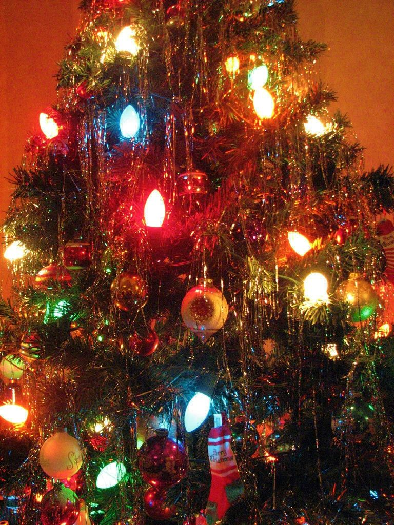 Vintage Antique Christmas Retro Tree Lights Holidays