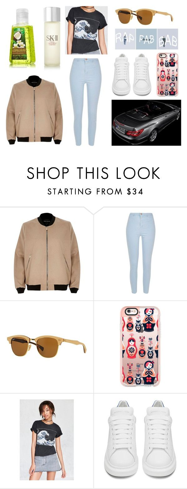 """""""Без названия #1216"""" by losageles ❤ liked on Polyvore featuring River Island, Ray-Ban, Casetify, Future State and SK-II"""
