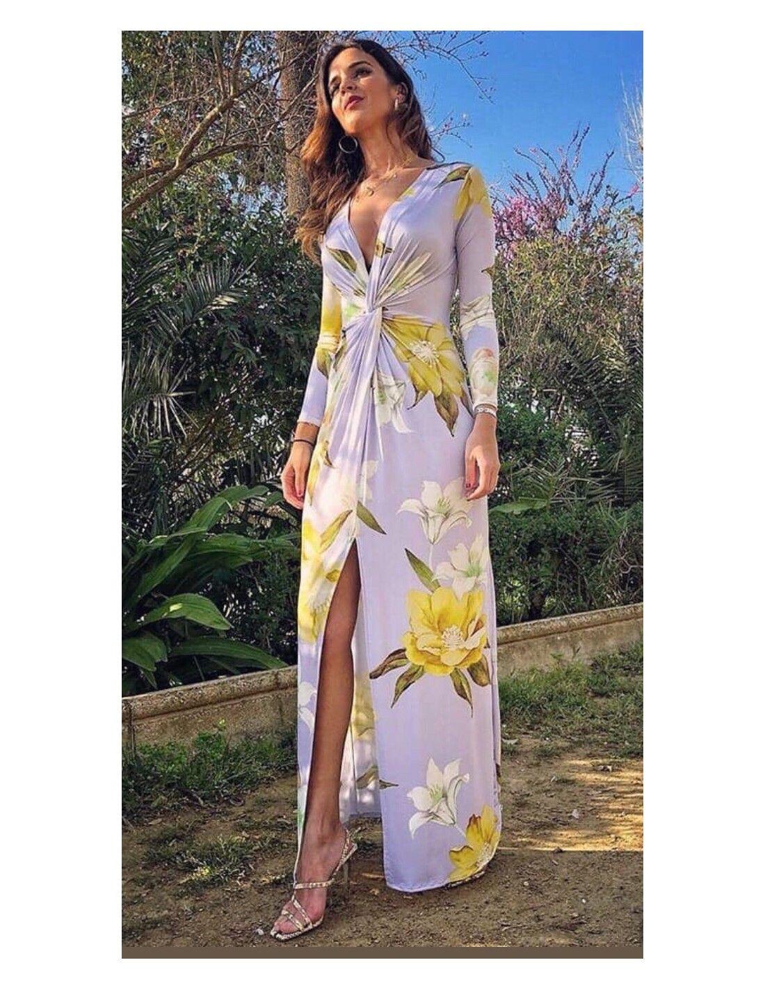 d063a6b69 Vestido Malva - Vestido largo en color malva con estampado de flores en  color amarillo.