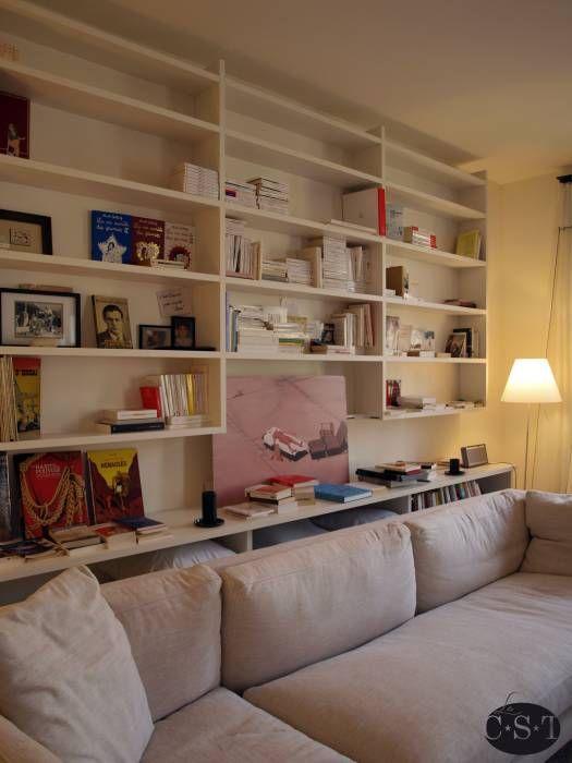 Attrayant Bibliotheque De Salon Design #13: Photos De Salon De Style De Style Minimaliste : Bibliothèque De Salon En  Angle Sur