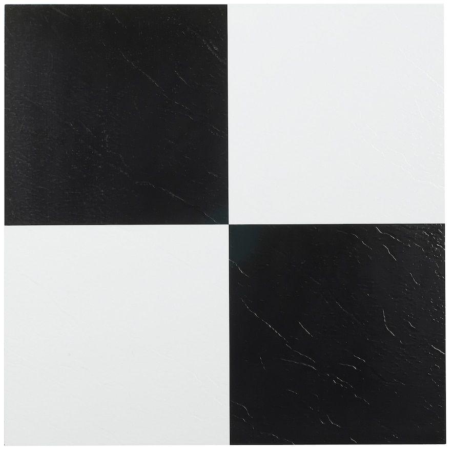 Achim Nexus Black White 20 Piece Self Adhesive Vinyl Floor Tile Set 12x12 Vinyl Flooring Tile Floor Vinyl Tiles
