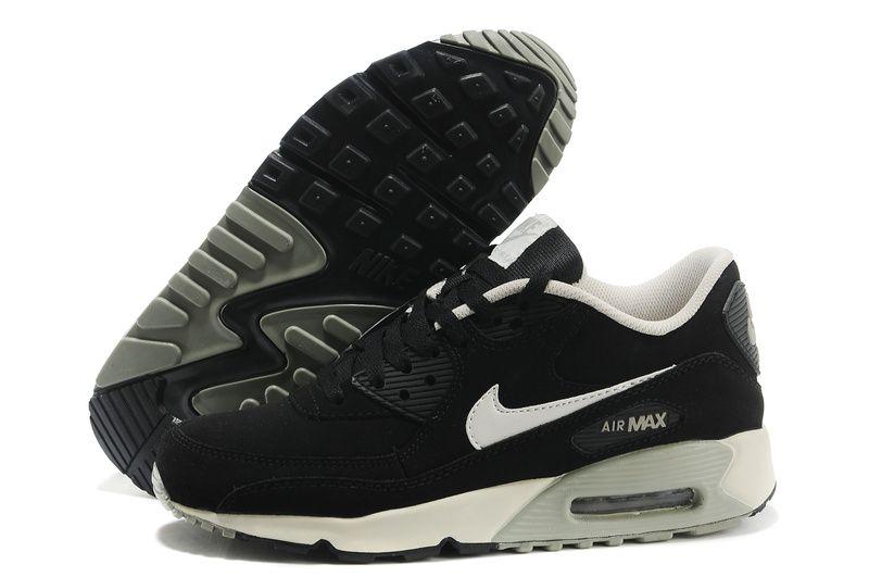 Mens Nike Air Max 90 Fur Black Grey White Shoes #Black