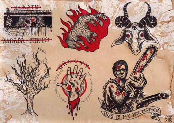 Evil Dead Flash Sheet Print By Deadenddesign On Etsy 12 50 Cartoon Tattoos Creepy Tattoos Flash Tattoo