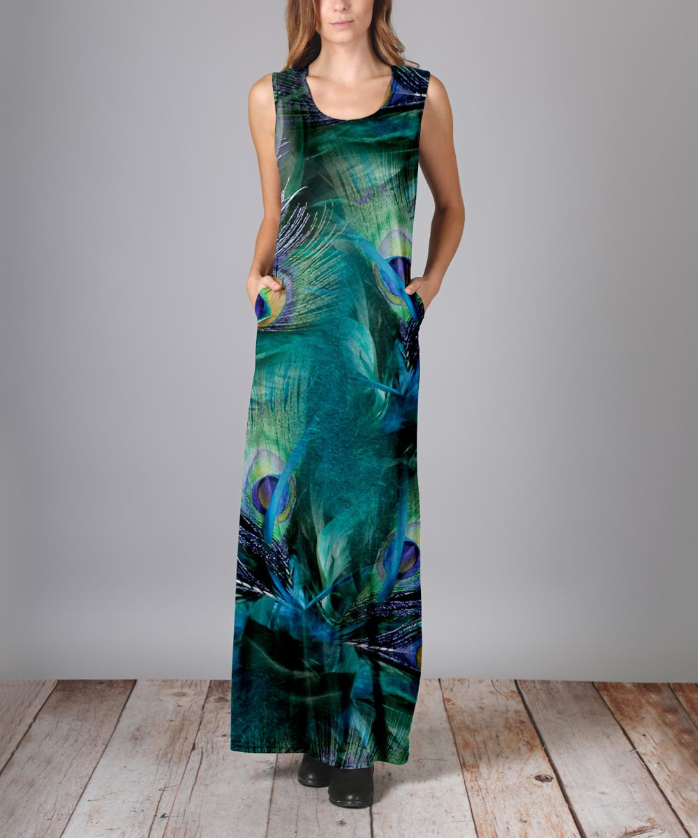 Teal Peacock Feather Maxi Dress - Plus Too