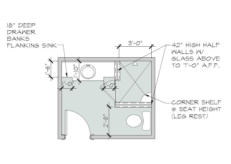 Free small bathroom floor plans with walk in shower and no for Tiny bathroom layout