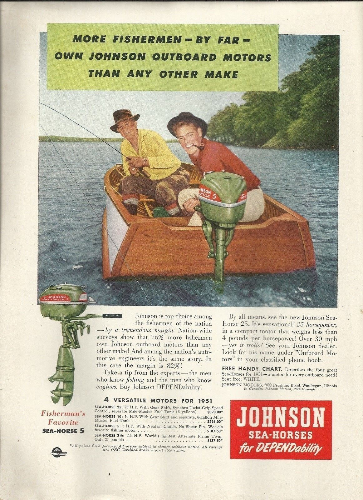 1951 Johnson Motors Color Ad- The Johnson Sea- Horse 5 HP Outboard Motors,