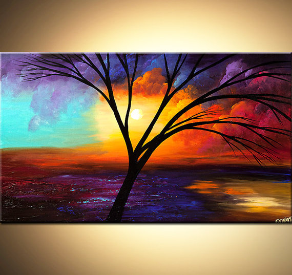 colorful landscape abstract painting acrylic tree painting