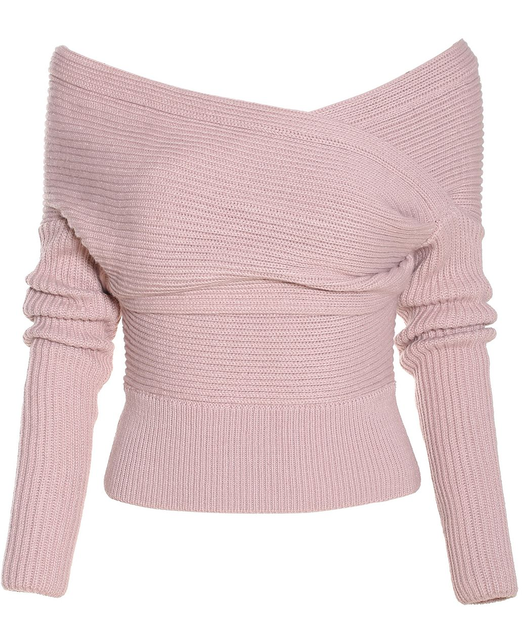 Pink Boat Neck Ribbed Sweater | Neck wrap, Shops and Boat neck
