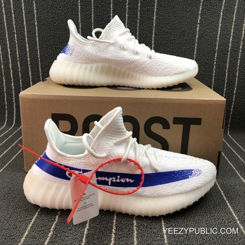 597e804a706f Women Men Champion X Adidas Yeezy Boost 350 V2 Custom White Blue New Release