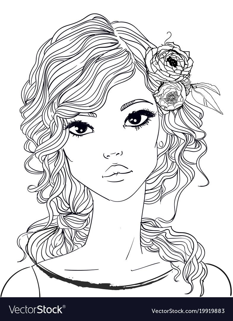 Portrait Of A Young Woman With Long Hair Vector Image On Vectorstock Fashion Coloring Book Cute Coloring Pages Coloring Pages