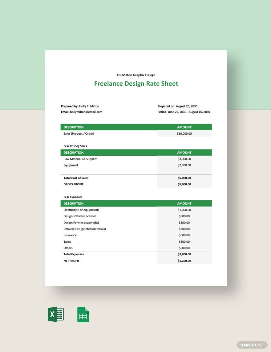 Freelance Design Rate Sheet Template Ms Excel Google Sheets Photography Pricing Sheet Rate Sheet Design Photography Pricing