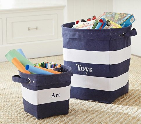navy white striped canvas buckets pottery barn kids baby boy 39 s room pinterest barn and room. Black Bedroom Furniture Sets. Home Design Ideas