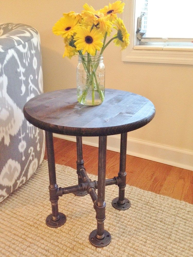 Wood And Metal Bedside Table: Small Table, Round Table, Side Table, Night Stand, Bedside