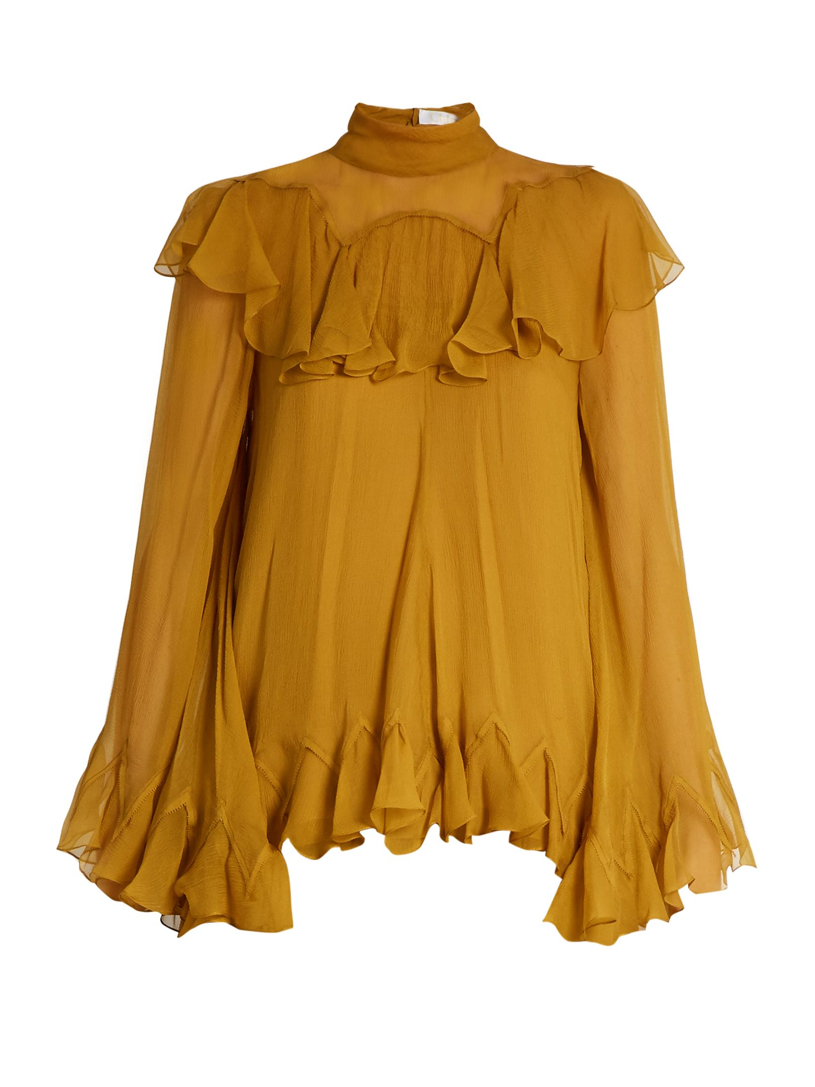 489da40fd7ba High-neck silk-crepon ruffled blouse