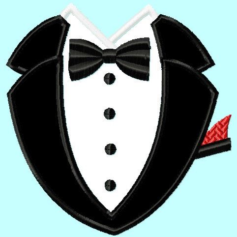 Tuxedo Black Applique Embroidery Design    INSTANT DOWNLOAD by LunaEmbroidery on Etsy https://www.etsy.com/listing/188453921/tuxedo-black-applique-embroidery-design
