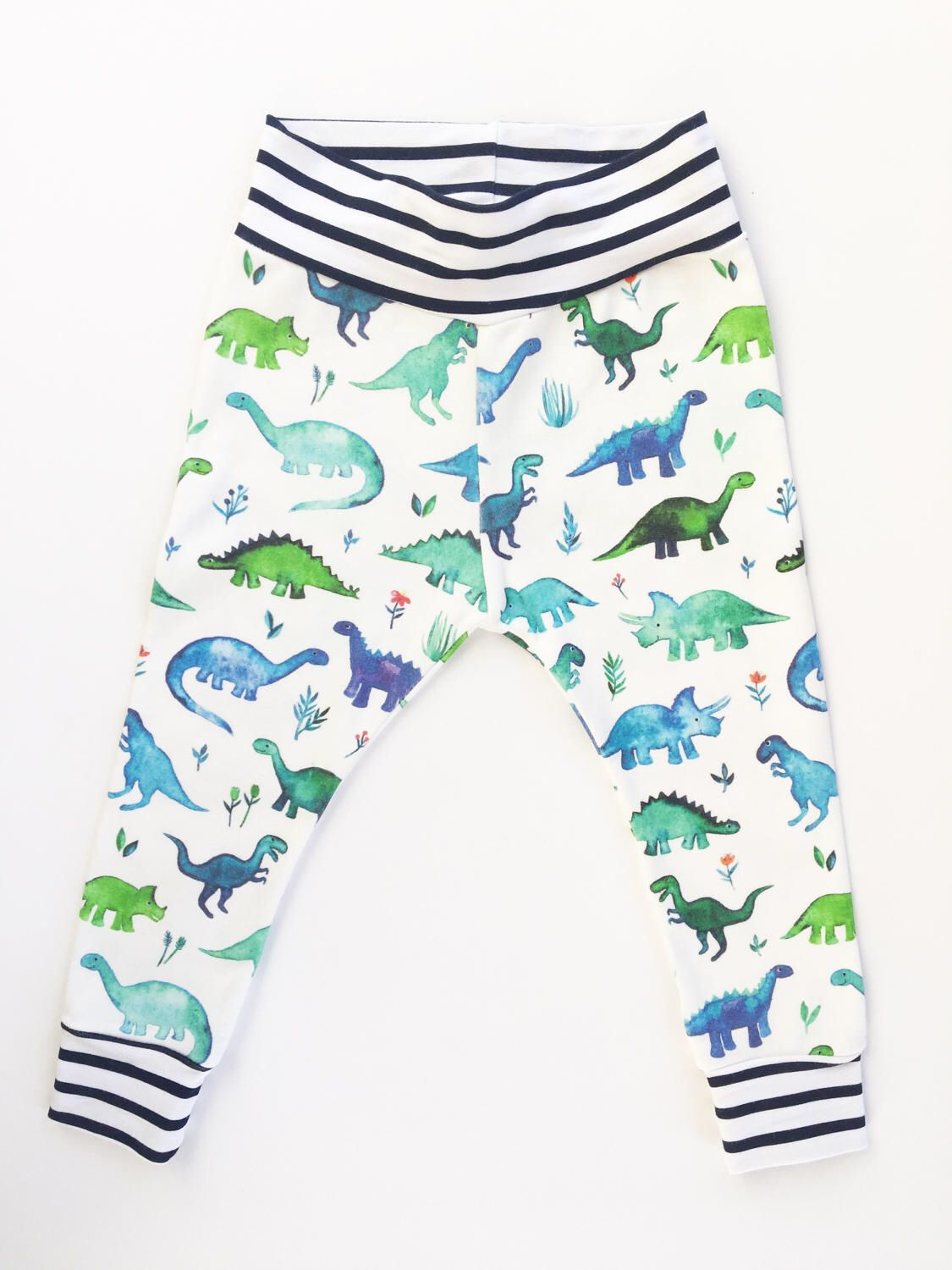 100% Organic Cotton Watercolor Dinosaur Baby Toddler Navy Stripes Cuffed Leggings Yoga Waistband and Navy White Stripes Slouch Beanie by GreyandCrew on Etsy https://www.etsy.com/listing/518699507/100-organic-cotton-watercolor-dinosaur