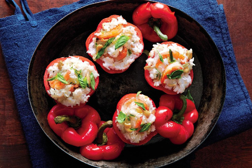 Bell Peppers With Shrimp And Coconut Rice Recipe Epicurious Com Stuffed Peppers Food Seafood Recipes