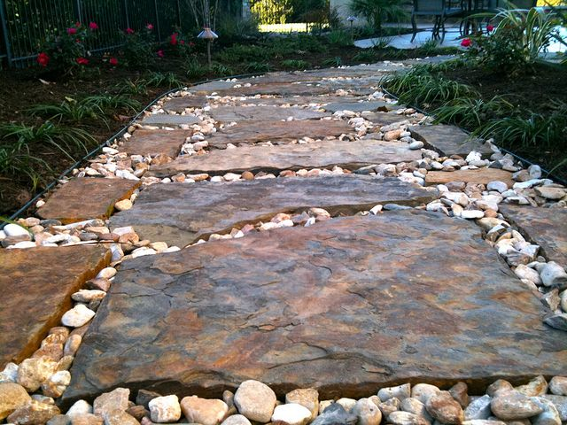 Flagstone Walkway Design Ideas there is a lot of flagstone in my future dream yard i love this Landscaping Design Ideas Around A Pool By Landscaping Austin Via Flickr Flagstone Pathwaywalkwaysdrivewaysrock