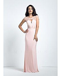 Mignon Striated bead detail & illusion jersey gown