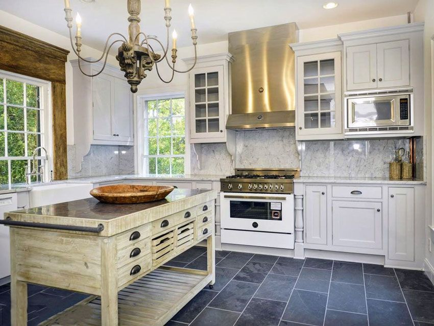 Traditional white kitchen with reclaimed pine wood island