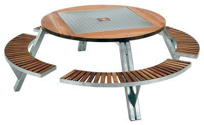 Table ronde Gargantua / Ø 146 cm à 200 cm + Banc réglable en hauteur ...