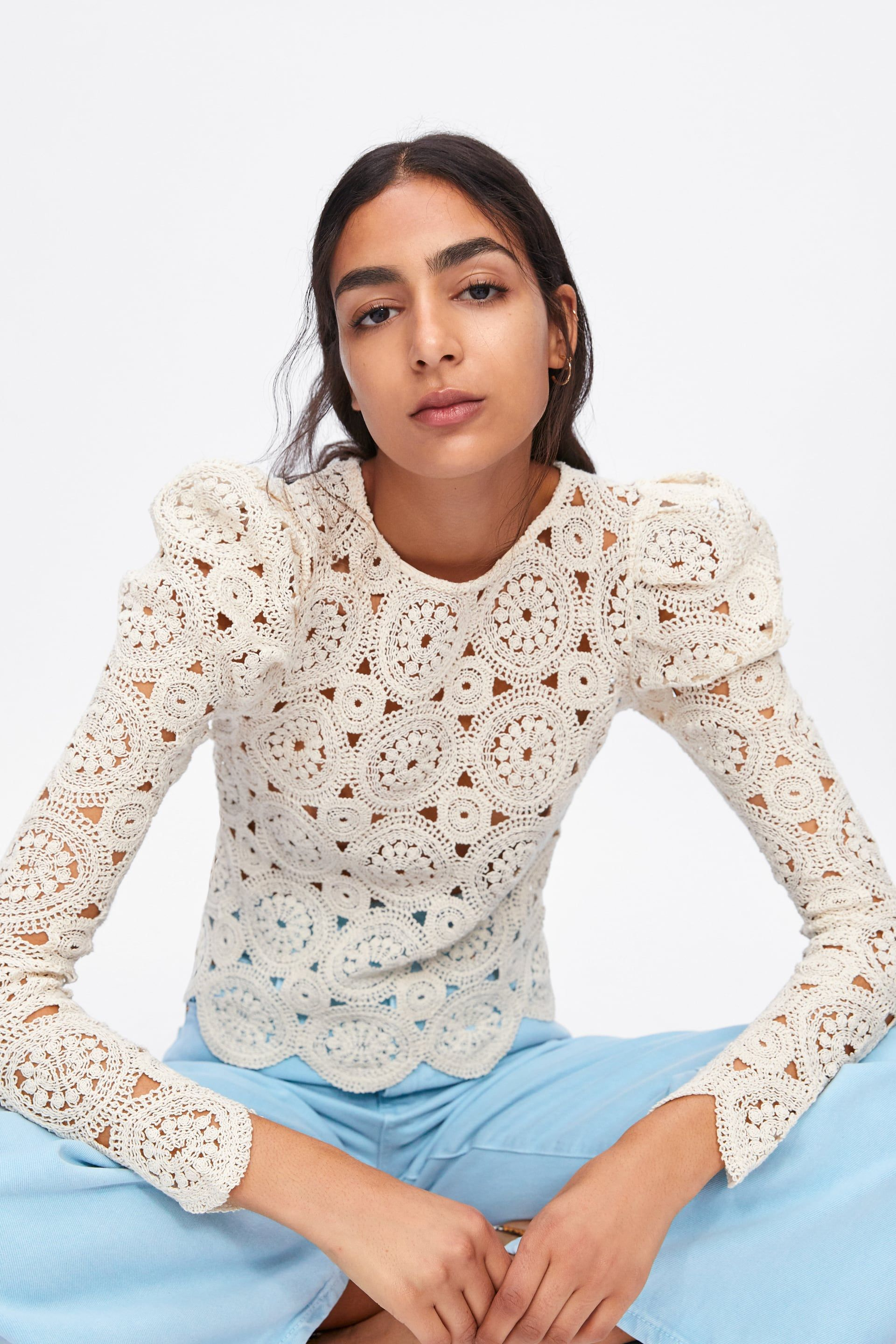 7a5d5aca83 Textured weave top with balloon sleeves in 2019 | Fashion is the new ...