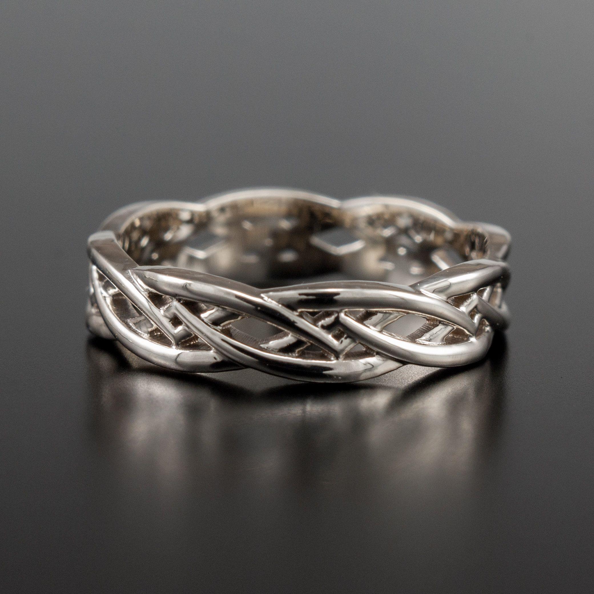 14k White Gold Celtic Ring Celtic Wedding Rings Viking Etsy In 2020 Gold Celtic Rings Celtic Wedding Rings Viking Wedding Ring