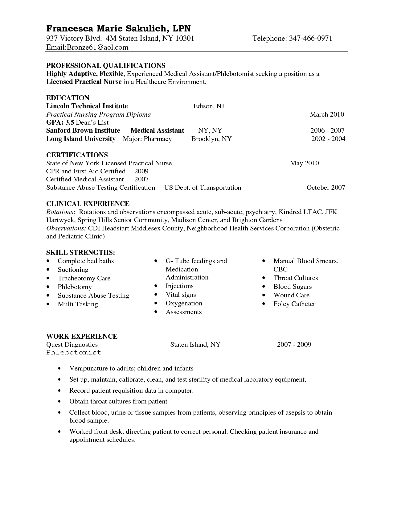 sample resume lpn no experience