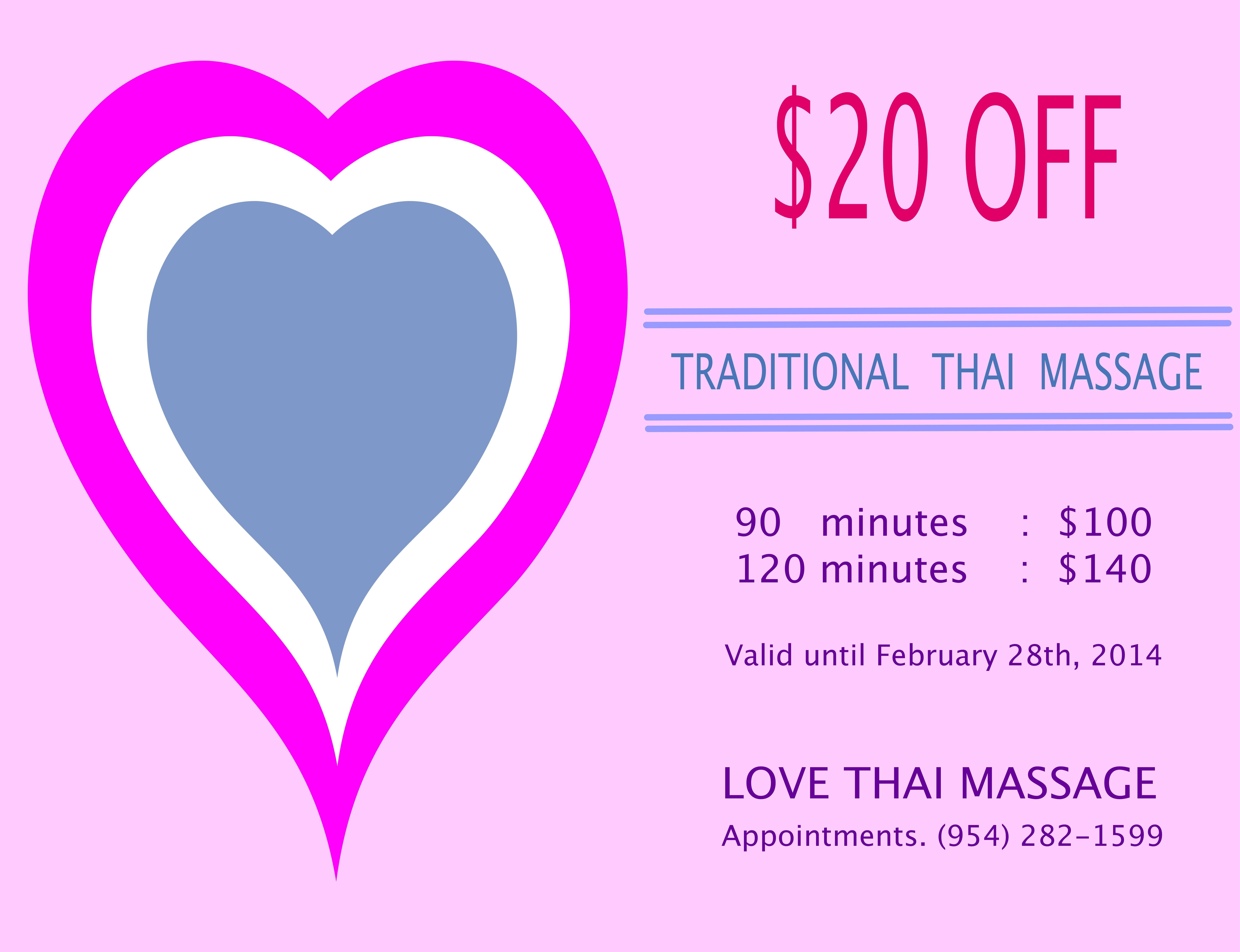 Promotion of the month of love traditiona l thai massage