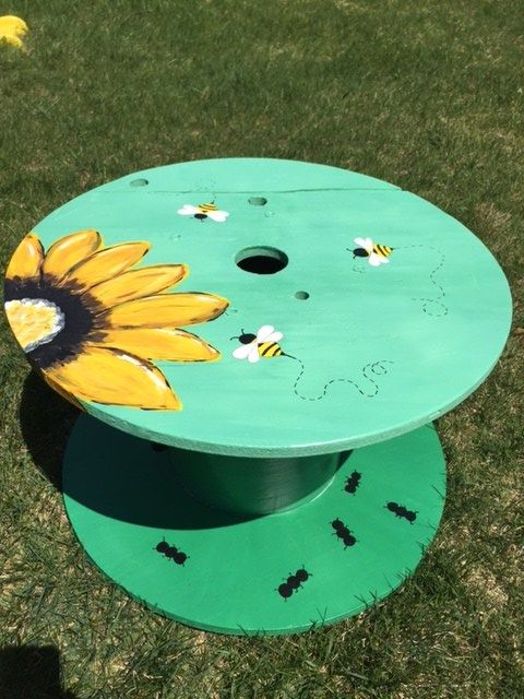 Wire Spool Table Getting Creative And Painting Furniture