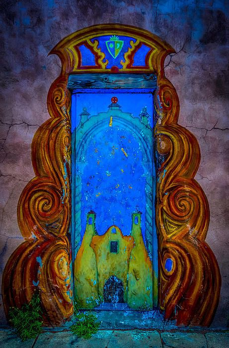 Colourful doorway art on adobe house Art Print by