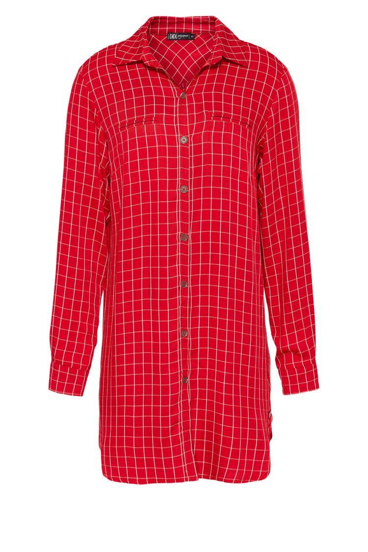 d4945083a36e20 Lange blouse met ruitprint Rood
