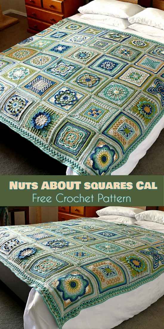 35-Square Blanket - Nuts about Squares CAL [Free Crochet Pattern ...