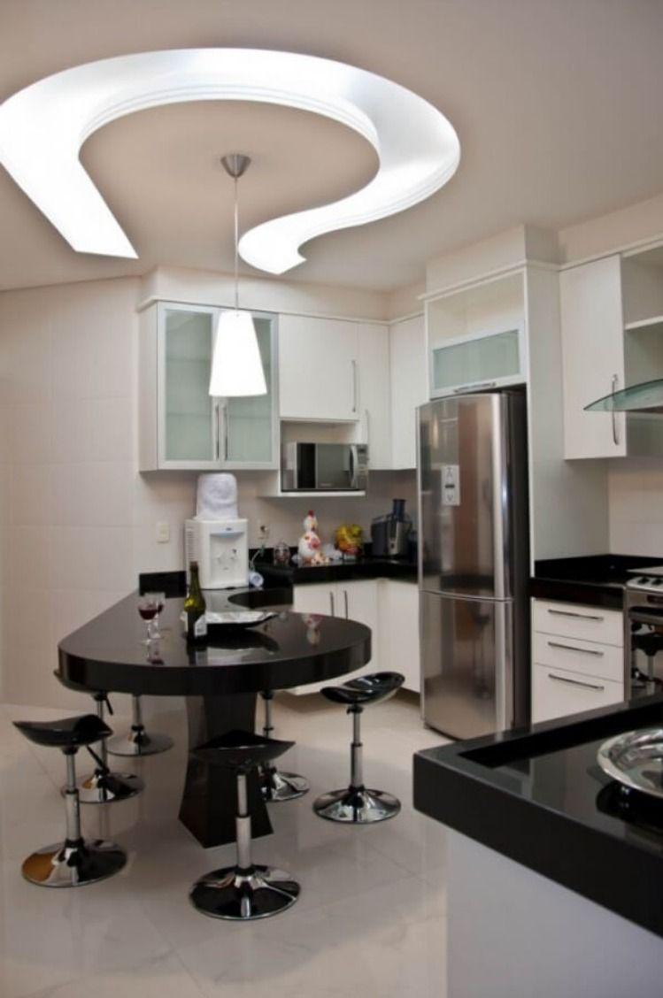 أشكال اسقف جبس بورد افضل ديكورات جبس للمطابخ الحديثة Cozinhas Preto E Branco Casas