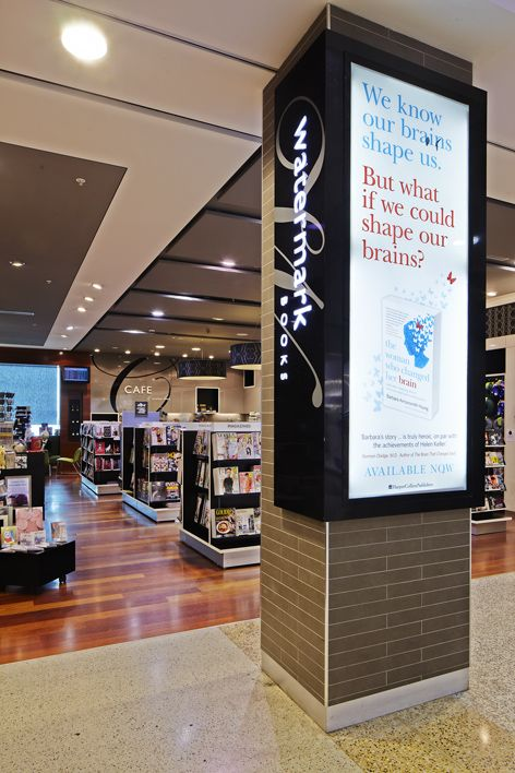 Watermark Books Melbourne Airport Interior Design Graphic Signage And Fixture By