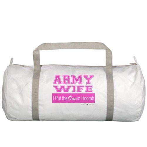 Army Wife Hoorah (Pink) Gym Bag:Amazon:Clothing