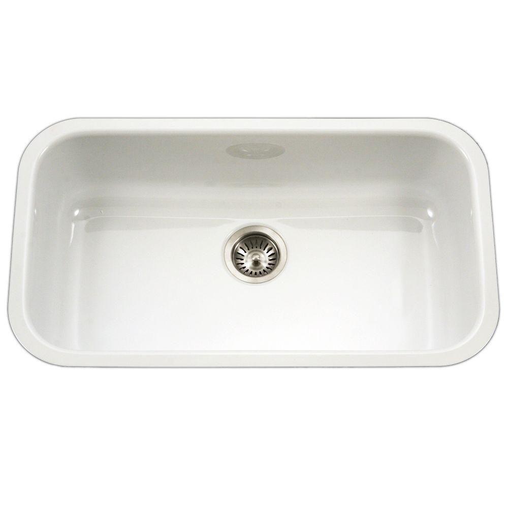 HOUZER Porcela Series Undermount Porcelain Enamel Steel 31 in. Large Single Bowl Kitchen Sink in