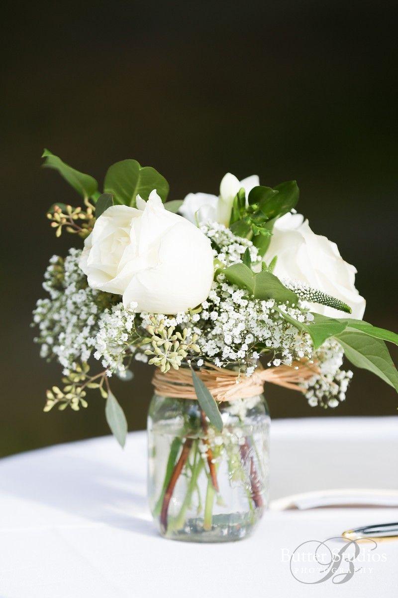 White Rose Wax Flower Mason Jar Table Center Pieces Mason Jar Flower Arrangements White Flower Centerpieces White Rose Centerpieces