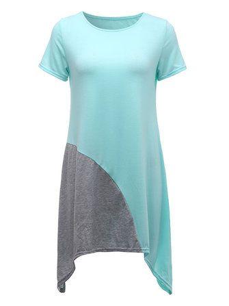 Casual Women Contrast Color Patchwork Irregular Hem Dress