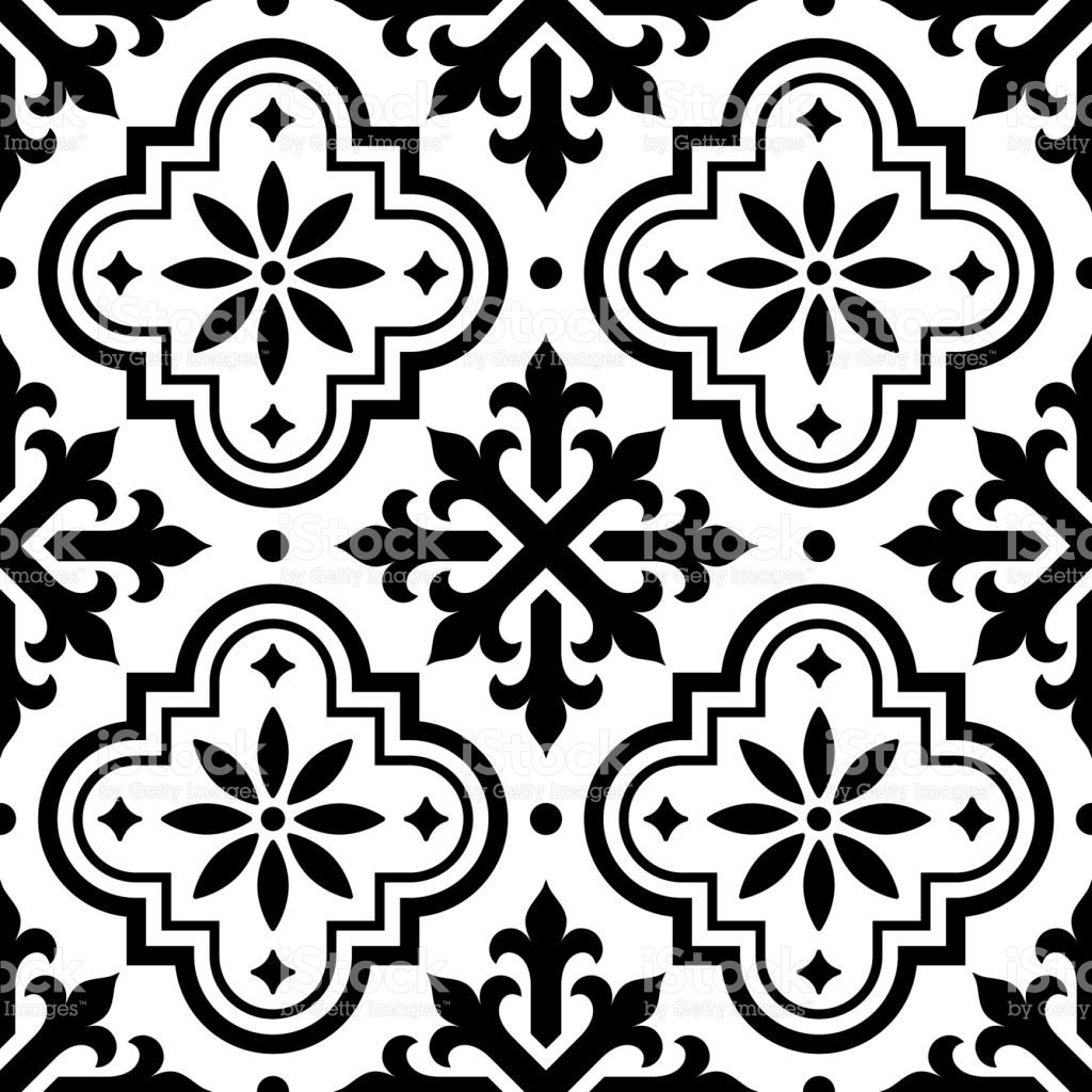 Spanish tile pattern, Moroccan tiles design, seamless