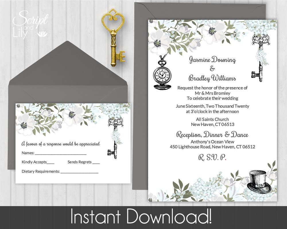 Alice in Wonderland Invitation Template | FREE RSVP Card | Black ...