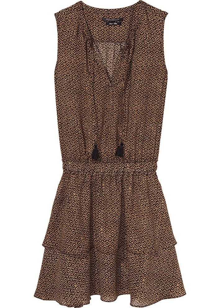 Kjole sort/camel 136825 Maison Scotch Dress With Tiered Skirt - combo E