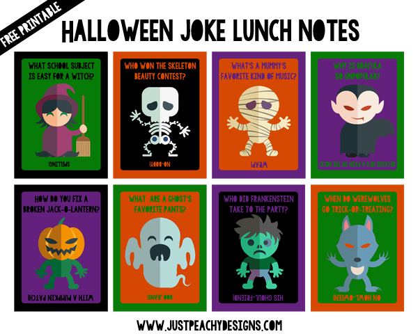 Printable Halloween Lunch Notes (With images) Halloween