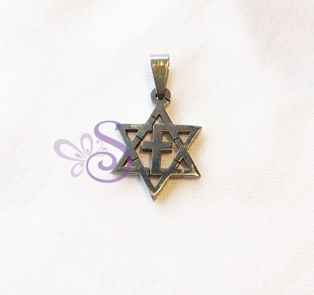 Stainless steel star of david cross pendant interfaith unisex israel stainless steel star of david cross pendant interfaith unisex israel holyland david cross and pendants aloadofball