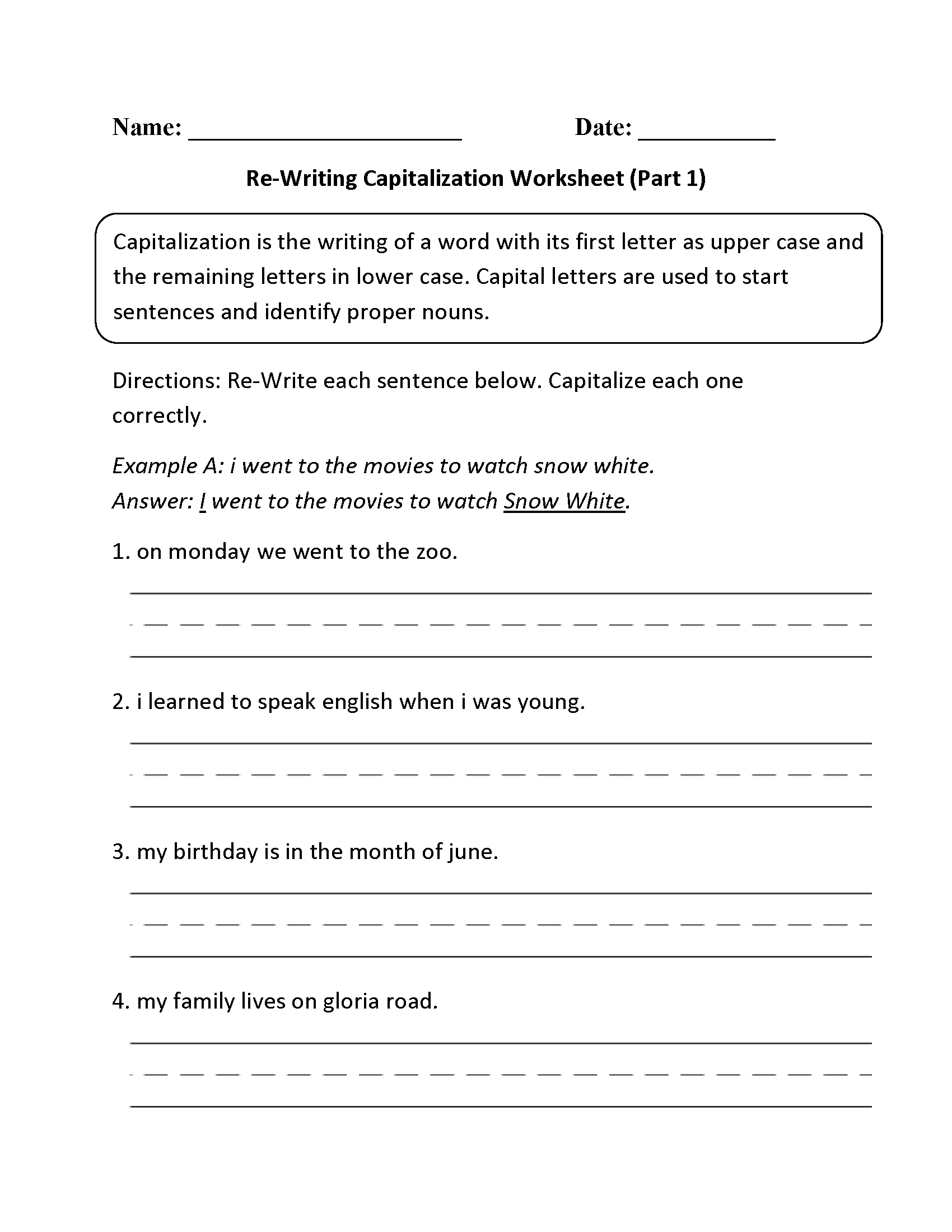 Re Writing Capitalization Worksheet Part 1