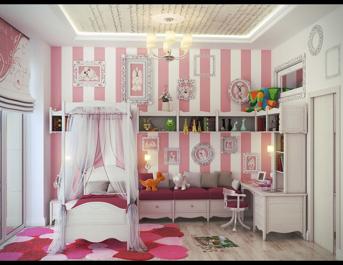 pink white stripe wall girls bedroom with detailed cabinetry