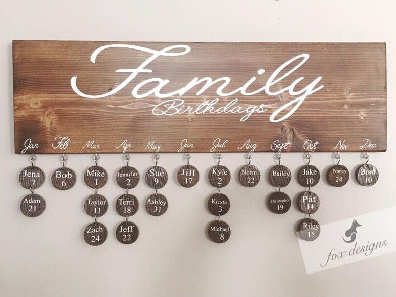 Birthday board perfect gift birthday organizer family keepsake birthday calendar wood decor birthday gift idea house warming gift