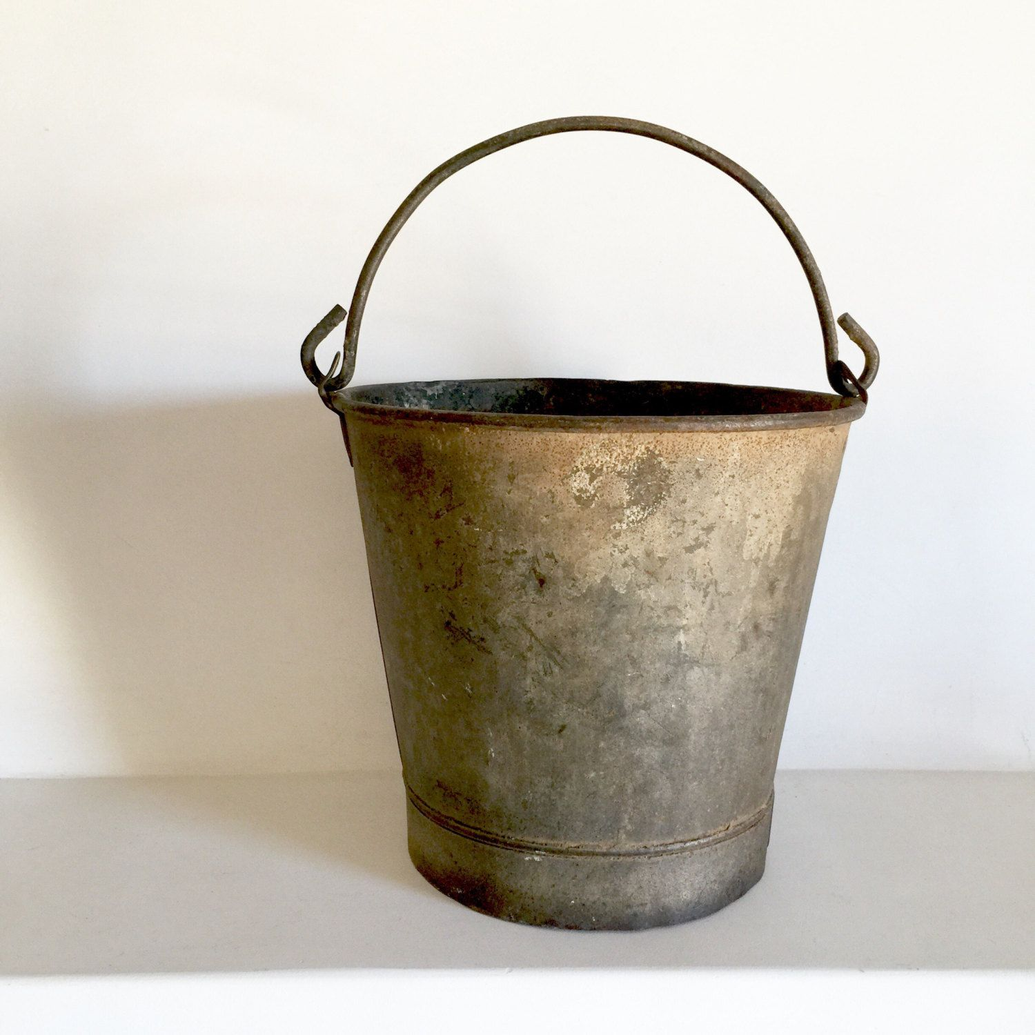 Great French Antique Metal Bucket   Amazing Patina   Rustic Garden Bucket    Galvanized Metal Farm Bucket