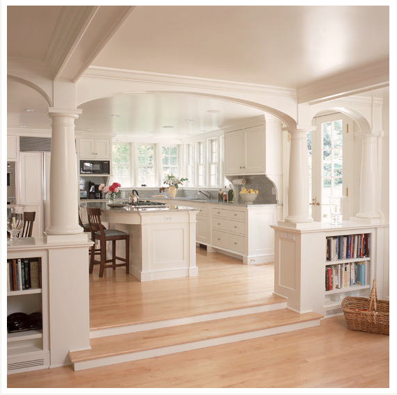 Traditional Open Concept Kitchen: Kitchen Archway By The Front Door, With Support Beams