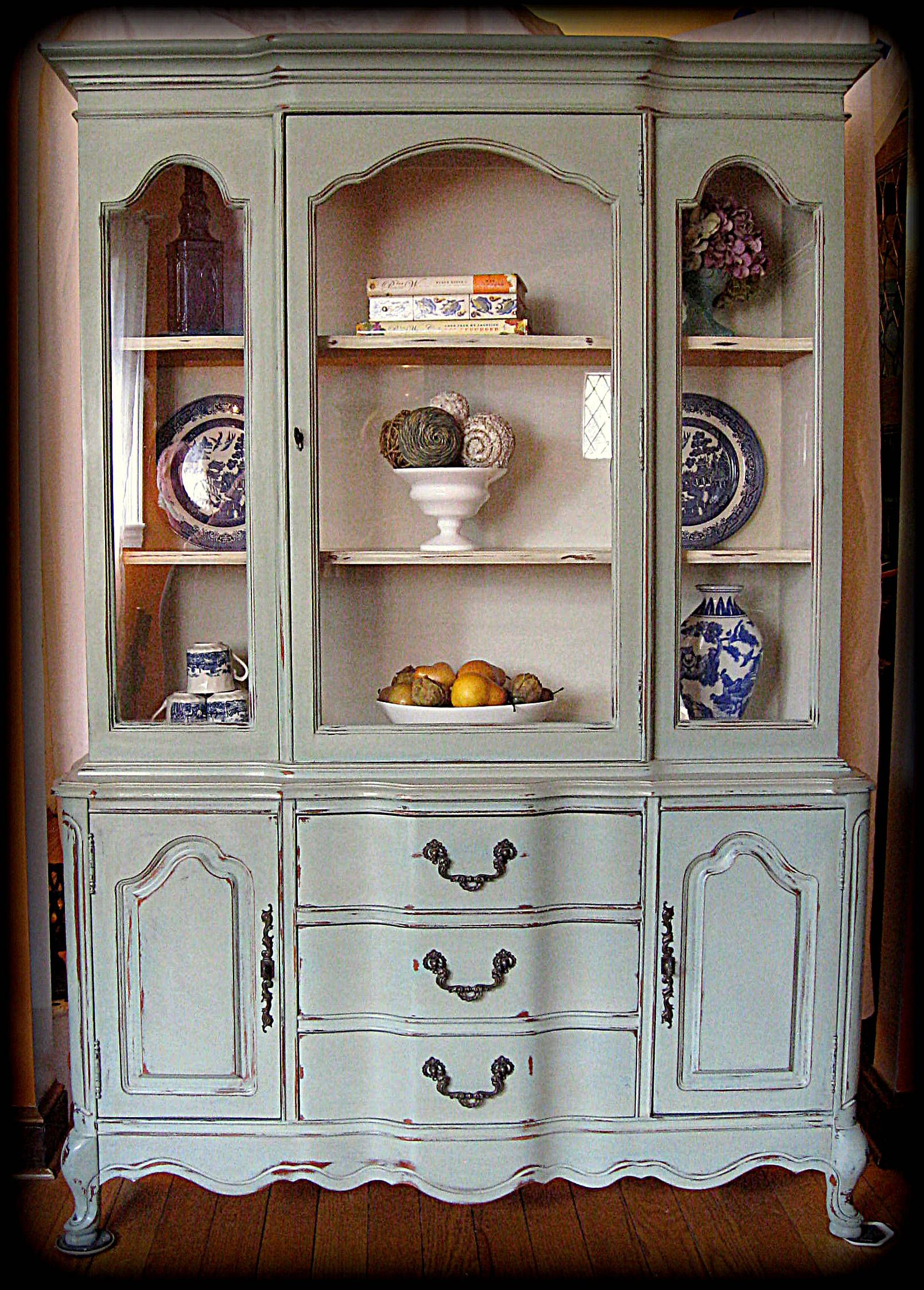 French Blue China Cabinet Duck Egg With A Linen Wash This Is